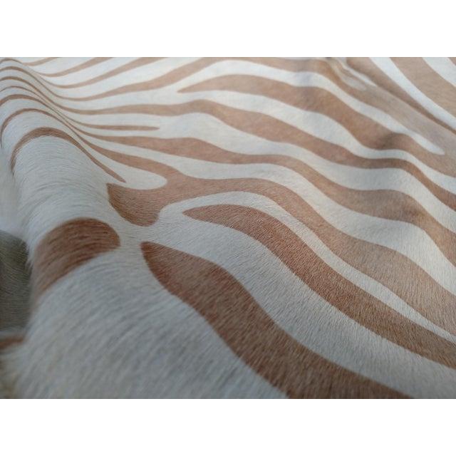 Safari Gambrell Renard Tan Zebra Print Cowhide Rug - 6′4″ × 7′1″ For Sale - Image 3 of 3