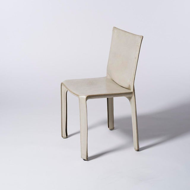 Mario Bellini Mario Bellini for Cassina White Leather Cab Side Chair For Sale - Image 4 of 4