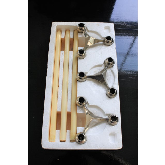 Contemporary All Original Boxed Set of Mid-Century Nagel & Stoffi Modular Candleholders With Candles For Sale - Image 3 of 12