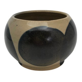 Cream & Blue Spots Studio Pottery Bowl, Vase or Planter For Sale