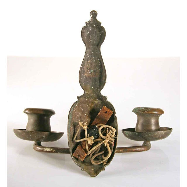Two-Arm Copper Hammered Arts & Crafts Sconces - A Pair For Sale - Image 4 of 5