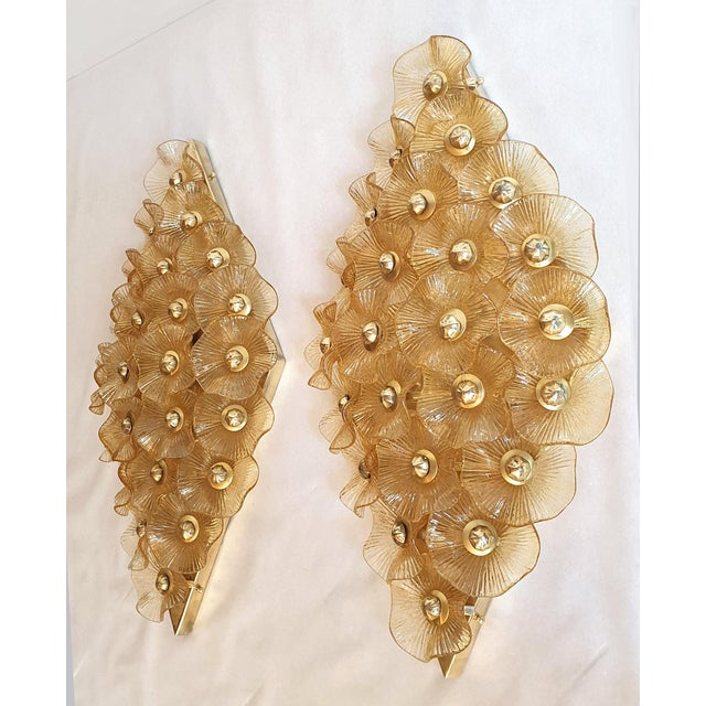 1970s Large Mid-Century Modern Murano Glass Sconces/Flush Mounts Attr to Venini - a Pair For Sale - Image 5 of 11