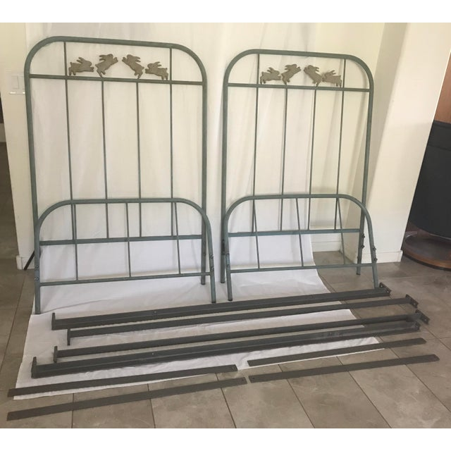 'Jumping Bunny' Twin Iron Beds by Corsican - A Pair For Sale - Image 13 of 13