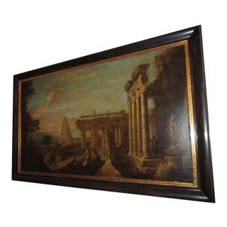 18th Century Capriccio Italian Architectural Ruins Grand Tour Oil Painting For Sale