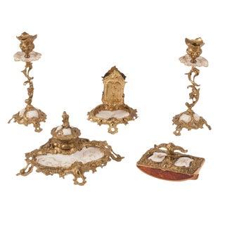 19th Century Royal Louis XVI Art Nouveau Gilt-Bronze Mounted Kpm Porcelain Desk Set - Set of 5 For Sale