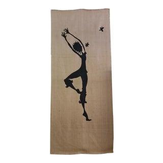 Screen Print Dancer Silhouette on Burlap Panel