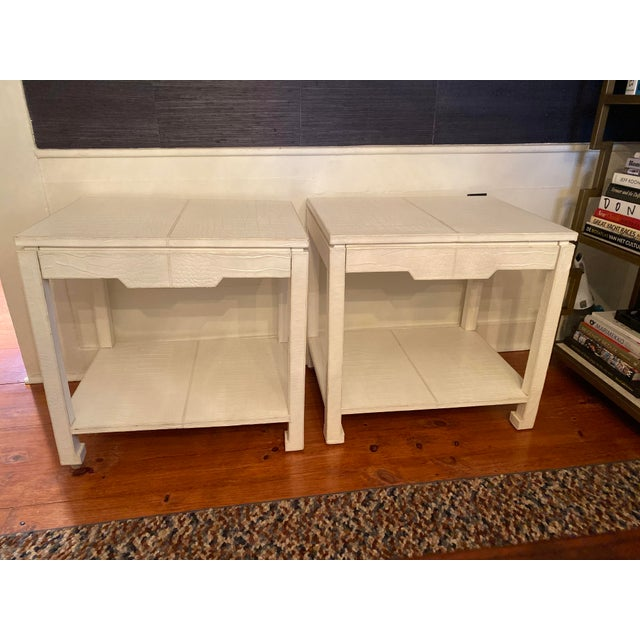 Asian Jonathan Adler Preston Leather Croc Side End Tables - a Pair For Sale - Image 10 of 10