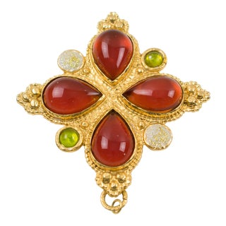 Edouard Rambaud Paris Gilt Metal Pin Brooch Oversized Cross Poured Glass Stone For Sale