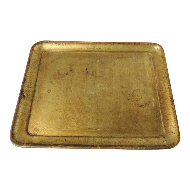 Vintage Italian Gold Leaf Serving Tray For Sale