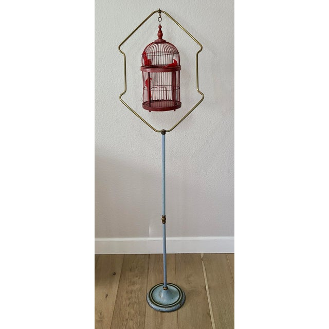 Metal Antique Art Deco Brass Painted Blue Bird Cage Stand Holder With Red Wood & Metal Bird Cage For Sale - Image 7 of 12