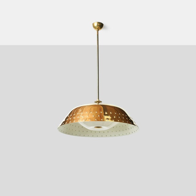 Brass Chandelier by Lisa Johansson Pape An impressive large scaled brass chandelier with perforated X-pattern detail...