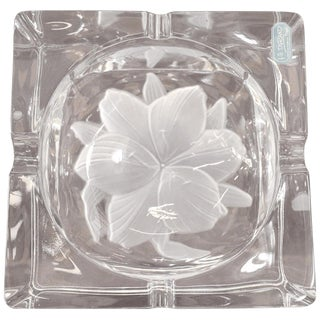 20th Century French Signed Crystal Ashtray, 1980s For Sale