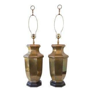 Vintage Frederick Cooper Asian Brass Lamps - A Pair
