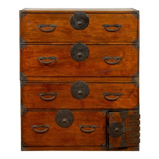 Japanese Meiji Period 19th Century Keyaki Wood Tansu Chest in the Sendai Style For Sale
