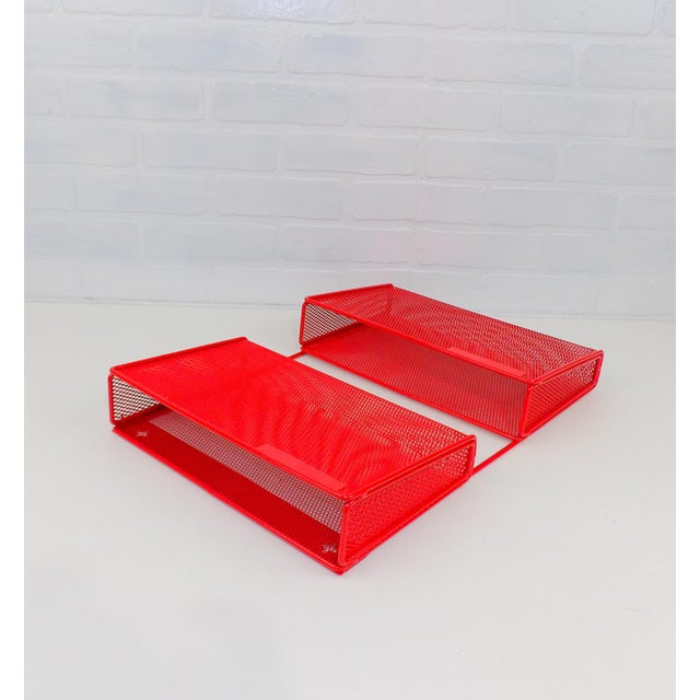 Vintage Red Metal Wall Mounted Organizer Mail Sorter Letter Holder For Sale - Image 4 of 9