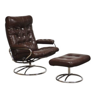Ekornes Brown Leather and Chrome Reclining Lounge Chair and Ottoman For Sale