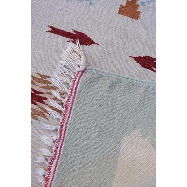 "Vintage Boho Chic Flat Weave Rug - 3'1"" x 5'4"" - Image 8 of 8"