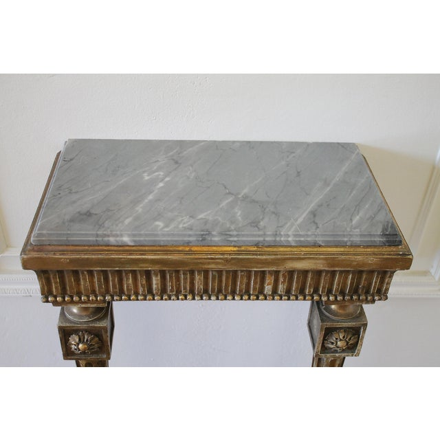 20th century petite Gilt Wood wall console table with stone top Original finish with beautiful faded gilt patina. Easily...