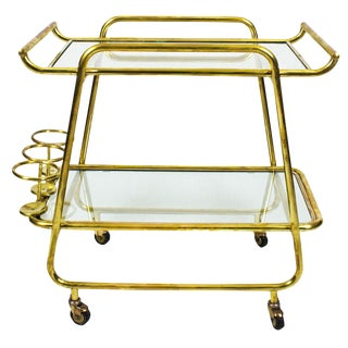 1930s Art Deco Bar Cart, Polished Brass and Glass, Bottles Rack, Italy For Sale