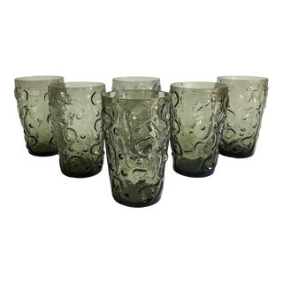 Vintage Green Gray Amorphous Tumblers - Set of 6 For Sale