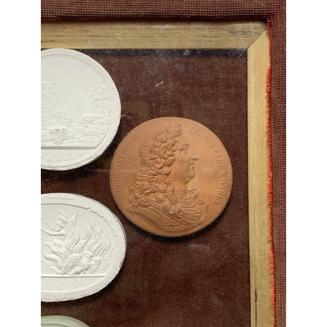 Red Early 19th Century Arrangement of Grand Tour Plaster Cameos in Velvet Frame For Sale - Image 8 of 9