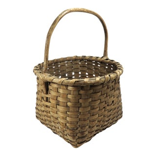 1910s Country Hand Woven Ash Basket For Sale
