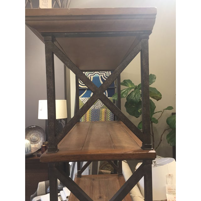 Country Distressed Iron & Wood Bookshelf For Sale - Image 3 of 5