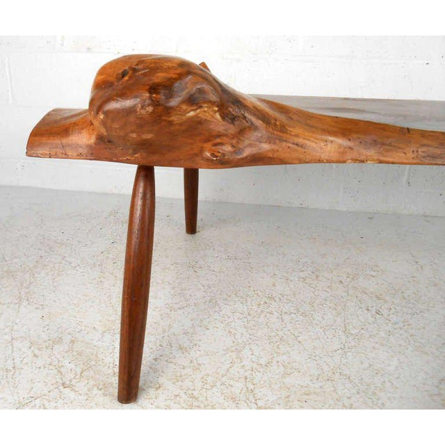 Wood Unique Vintage Wood Slab Coffee Table For Sale - Image 7 of 8