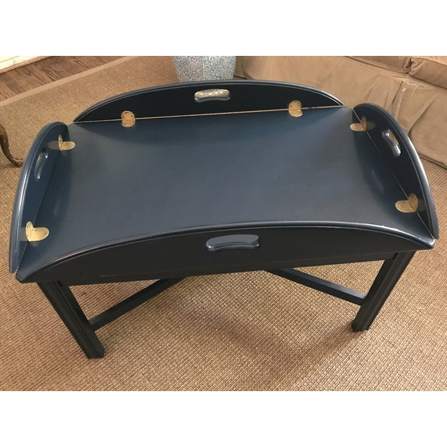 Lacquered Blue Ethan Allen Coffee Table - Image 2 of 5