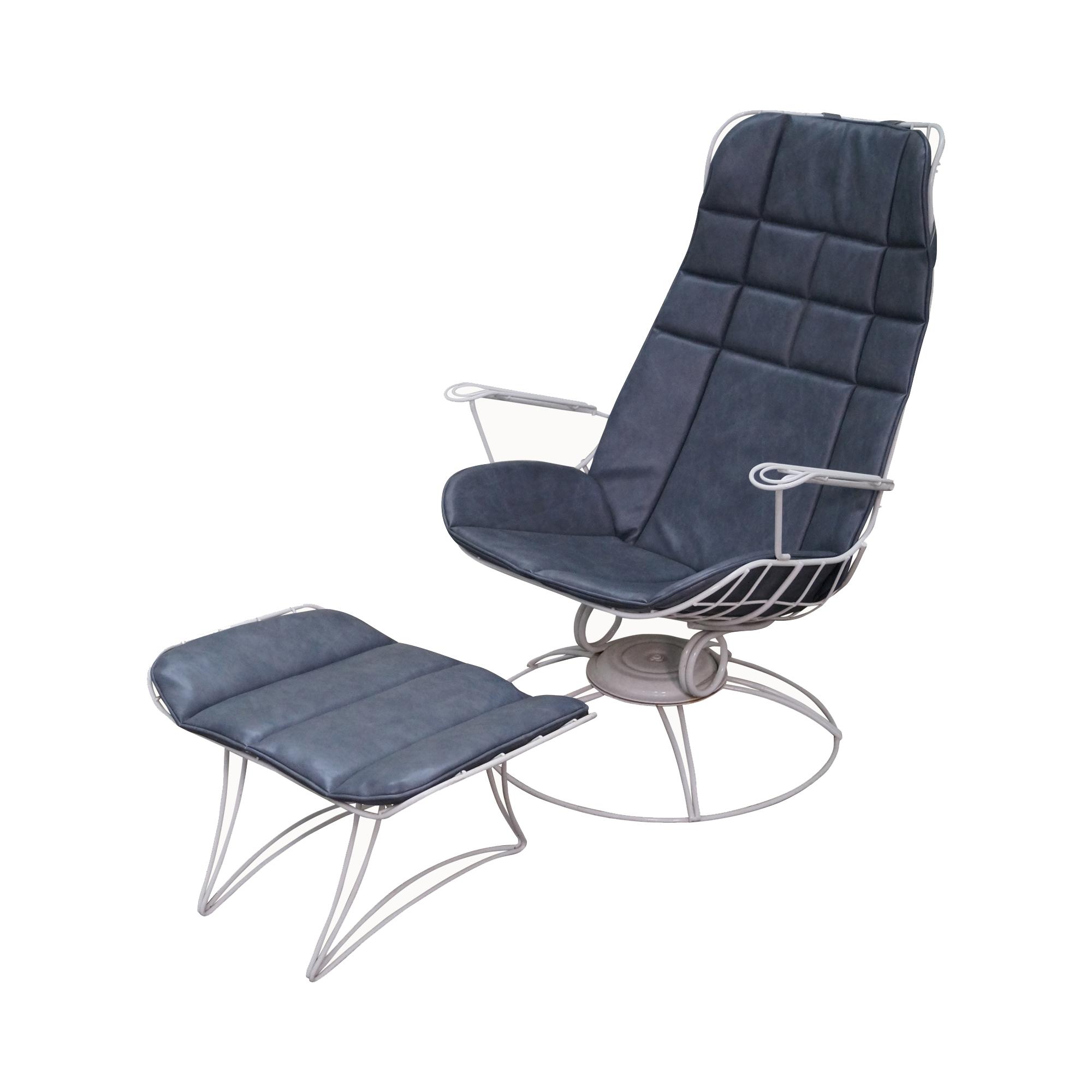 Homecrest Mid Century Wire Frame Chair U0026 Ottoman
