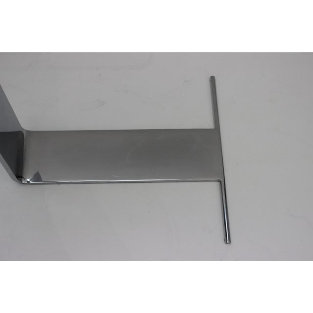 Modern Side Table Satin Steel Polished Steel Glass in Style of Dia For Sale - Image 3 of 13