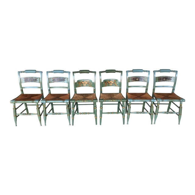 Vintage L. Hitchcock Slat Back & Crown Back Rush Bottom Side Chairs - Set of 6 For Sale