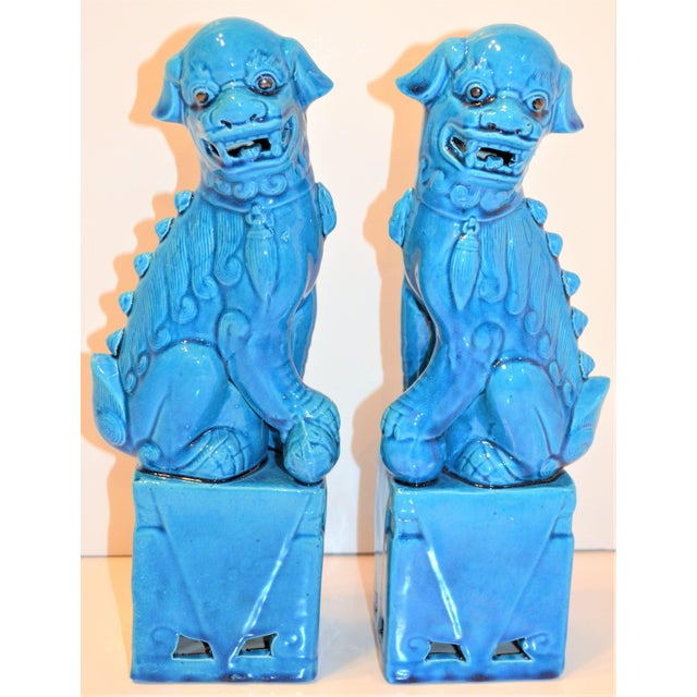 Ceramic 1980s Chinese Turquoise Glazed Large Foo Dog Figurines - a Pair For Sale - Image 7 of 9