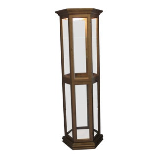 Lighted 6-Shelf Curio Cabinet With Antique Gold Finish