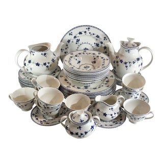 1963 Royal Doulton Blue Grapevine Yorktown Ribbed & Un Ribbed Dinnerware - Set of 54 Blue and White China For Sale