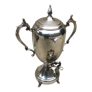Mid-Century Silver Plated Urn Samovar W/ Warmer For Sale