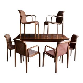 1960s Vintage Bill Stephens for Knoll Dining Chairs + Walnut Dining Table- 7 Pieces For Sale