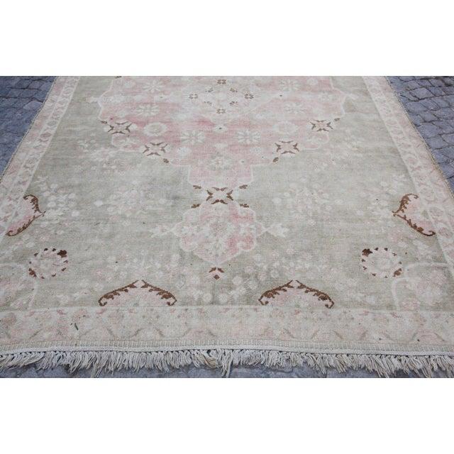 "Vintage Muted Turkish Oriental Rug Carpet - 10'11"" x 6'7"" - Image 3 of 10"