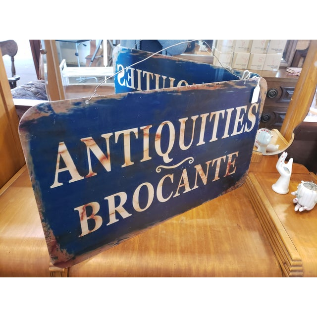 Navy Blue 2 Sided French Antiques Shop Sign For Sale - Image 8 of 9