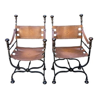 Vintage Savonarola Iron & Bronze Folding Arm Chairs - a Pair