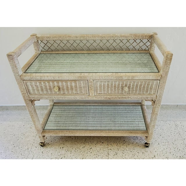 Chinoiserie Vintage Henry Link Wicker Rolling Bar Cart For Sale - Image 3 of 7