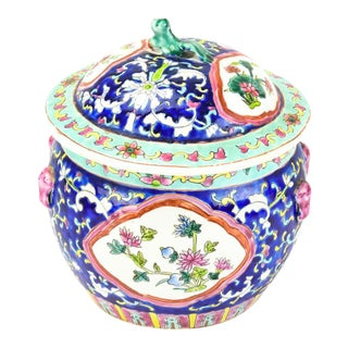 Chinoiserie Lapis Ginger Jar With Foo Dog Finial For Sale