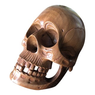 Hand Carved Wooden Skull Sculpture For Sale