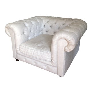 Restoration Hardware Kensington Tufted Linen Roll Arm Chair For Sale