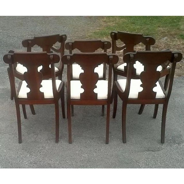Regency Dining Chairs With Scrolled Arm - Set of 6 For Sale - Image 6 of 12