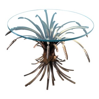 Mid-Century Hollywood Regency Bronze / Gold Painted Metal Wheat Sheaf Side Table For Sale