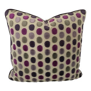 "Custom Made Osborne & Little Violet and Taupe 23"" Square Pillow For Sale"