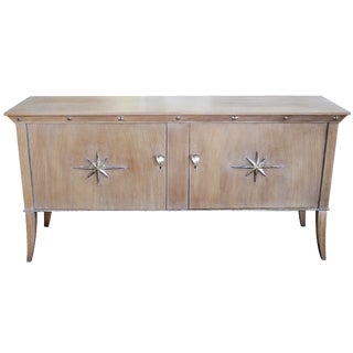 Stylish French Two-Door Cerused Oak Sideboard With Silver Leaf Motifs For Sale