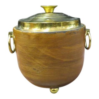 Vintage 1960s Mid-Century Modern Wood and Brass Ice Bucket For Sale