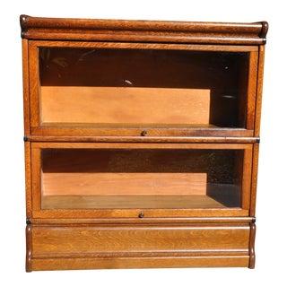 1930s Antique Lawyer Oak Bookcase For Sale